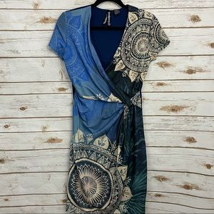 Desigual Ruched Mandala Boho Shirt Dress
